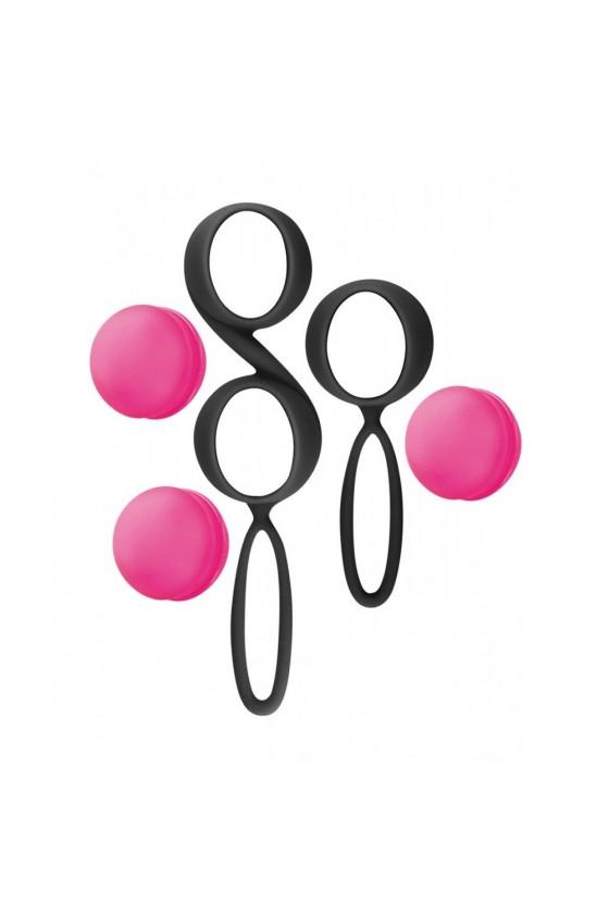 Set de boules de Geisha noires roses à billes amovibles