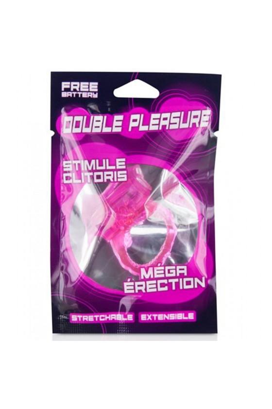Cockring rose vibrant avec stimulation du clitoris