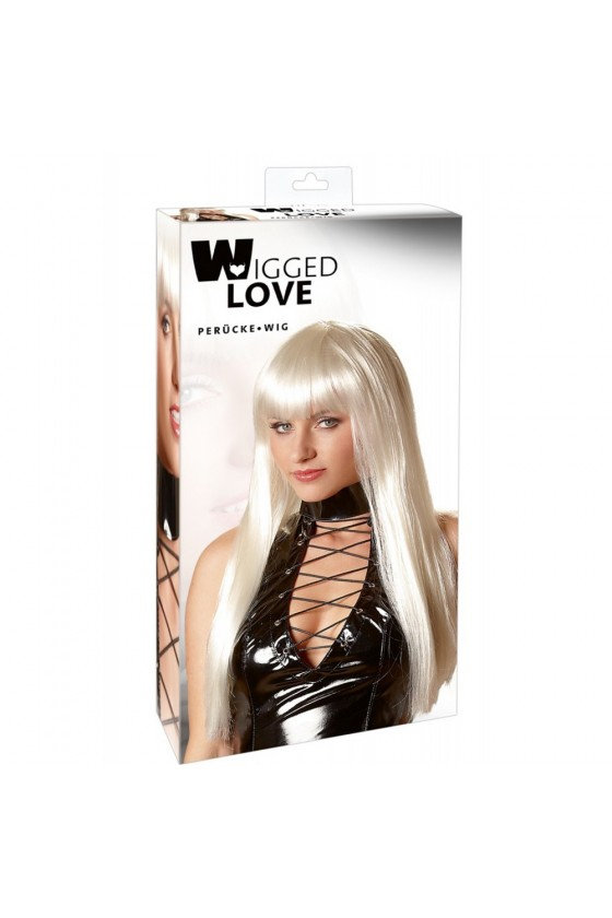 Perruque blonde platine cheveux longs