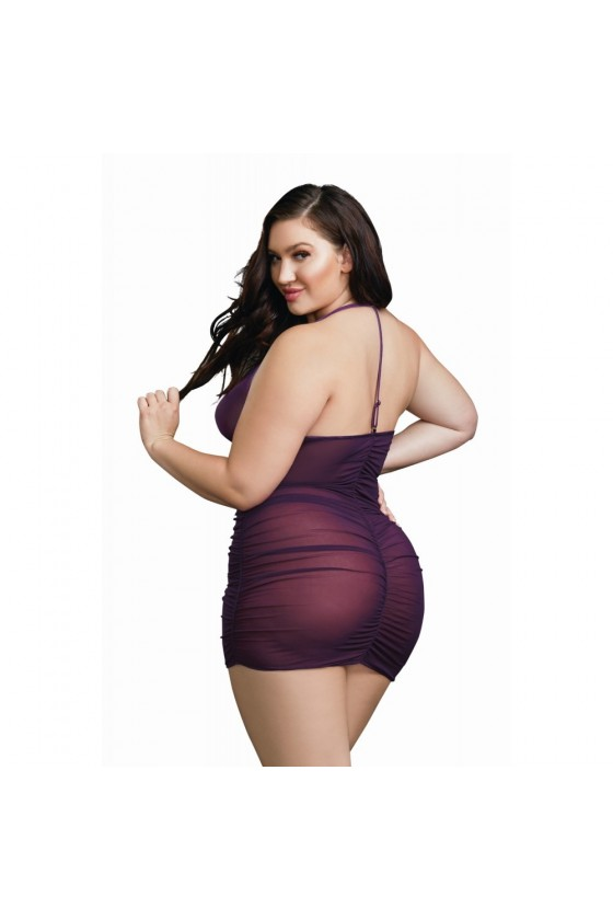 Nuisette grande taille violette froncée avec zip