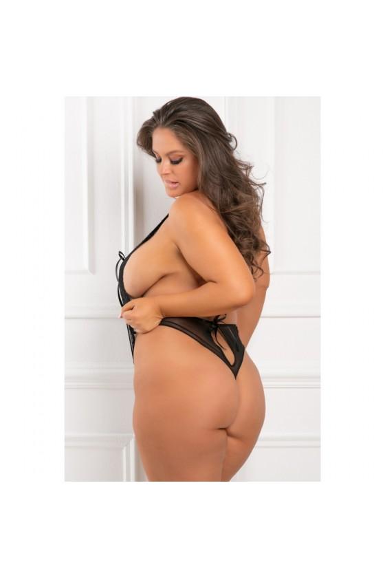 Body noir grande taille ouverture poitrine