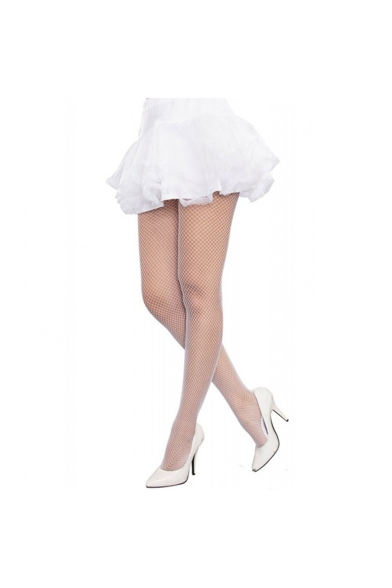 Collant résille blanc grande taille avec pieds renforcés