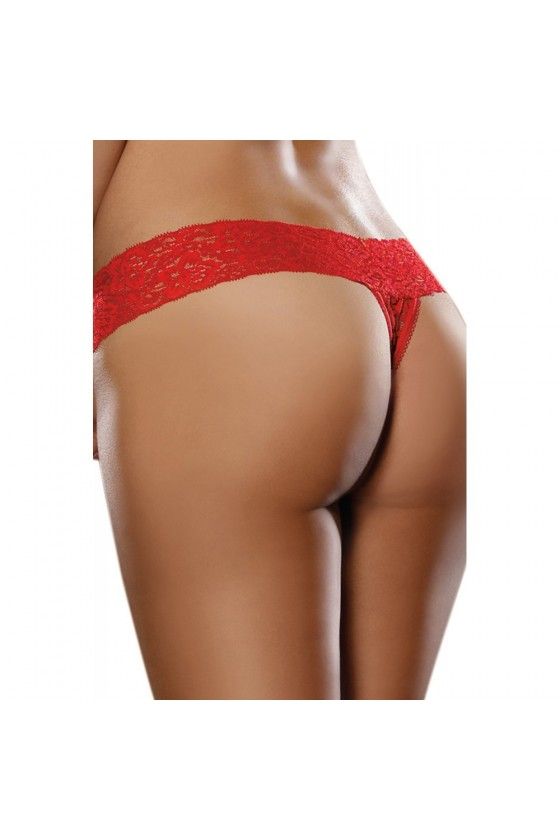 String brésilien rouge dentelle