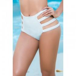 Bas de maillot de bain culotte taille haute Style 6853 - Blanc