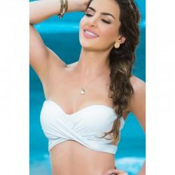 Haut de maillot de bain bandeau effet drapé Style 6848 - Blanc