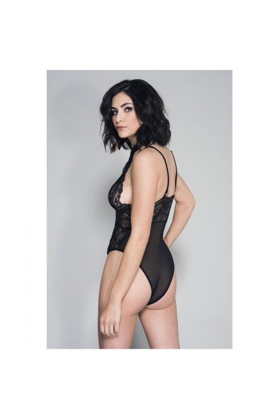 Body sexy noir dentelle et maille