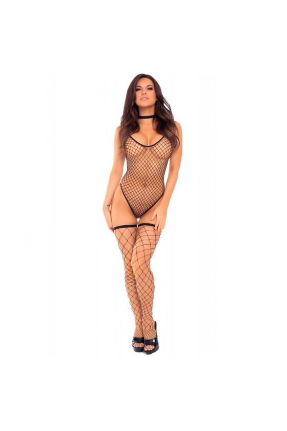 Body filet noir avec bas assortis