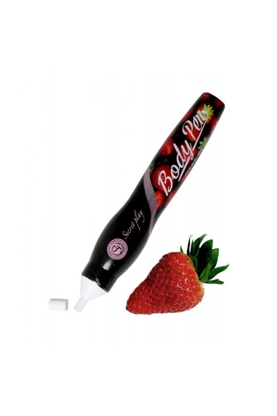 Stylo corporel fraise comestible