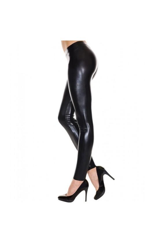 Leggings noir brillant effet simili cuir