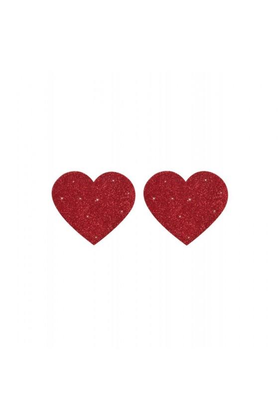 Nipples adhésifs brillants en coeur