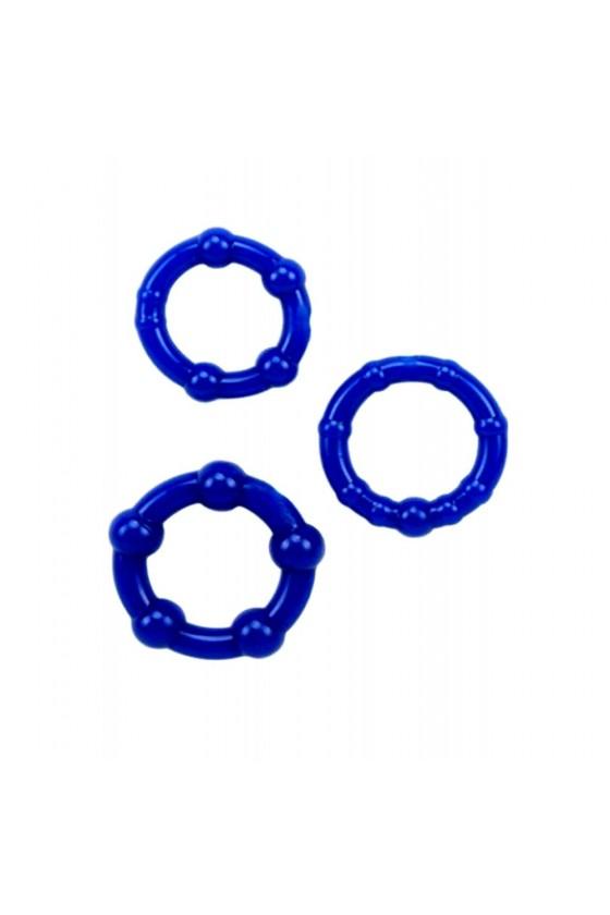 Pack 3 cockring bleus avec billes - CR-COR005BLU