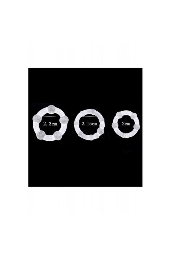 Pack 3 cockring transparents avec billes - CR-COR005CLE