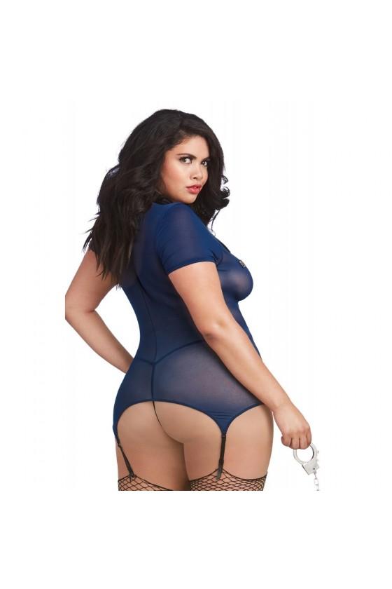 Costume sexy grande taille de policière en fine résille et menottes - DG11855XCOS