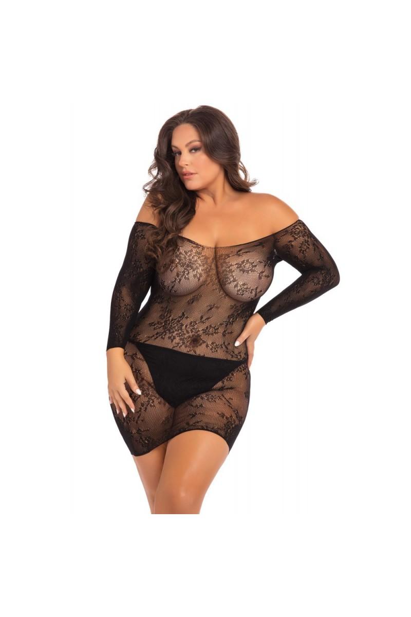 Mini robe noir, grande taille, manche longue transparente - REN7083XBLK
