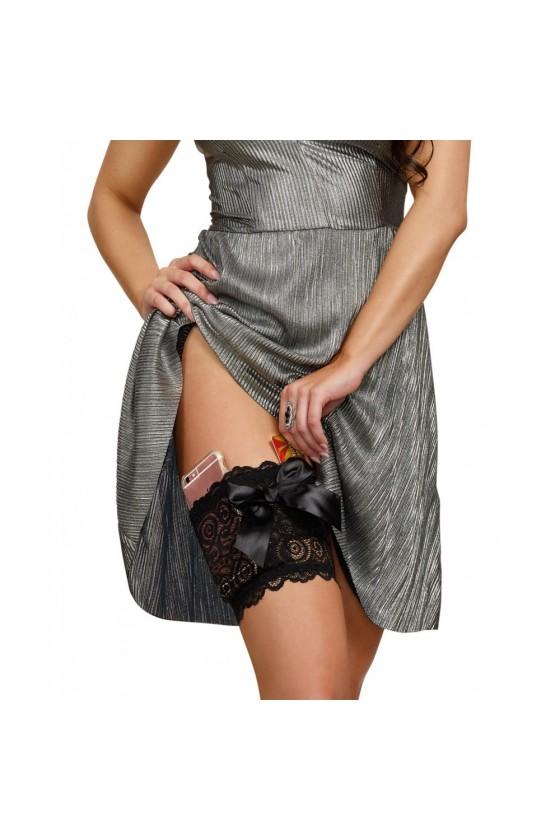 Jarretière noire dentelle avec 2 poches pour carte bancaire et téléphone portable