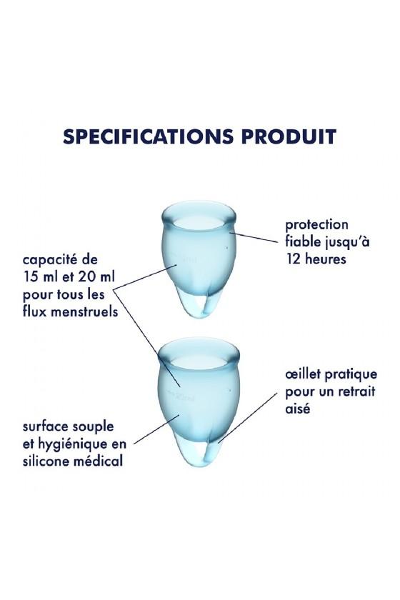 2 coupes mensturelles Satisfyer Light Bleu FEEL CONFIDENT - CC597236