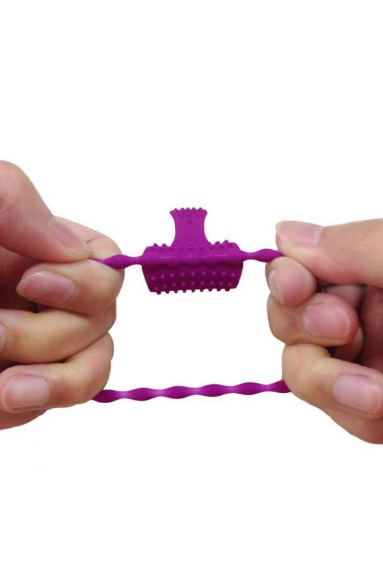 Anneau violet vibrant silicone avec langue picot - COR-018PUR