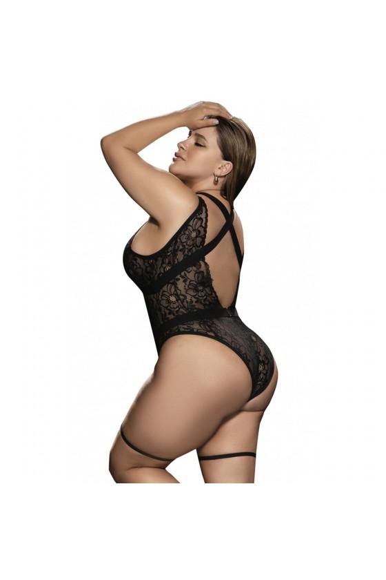 Body noir grande taille avec porte jarretelles - MAL8605XBLK