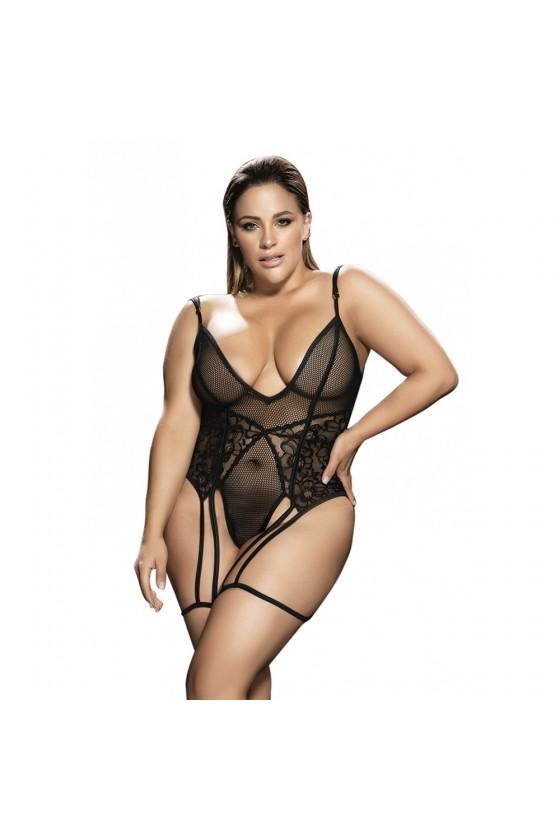 Body noir grande taille avec porte jarretelles - MAL8606XBLK
