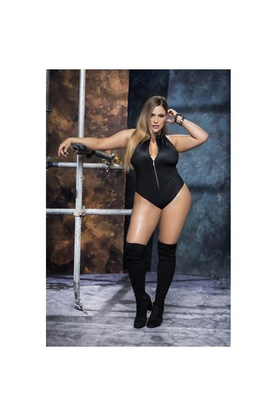 Body noir grande taille avec zip - MAL2662XBLK
