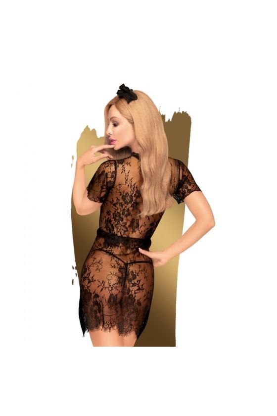 Robe transparente, serre tête et string assorti Noir Poison cookie - PH0063BLK