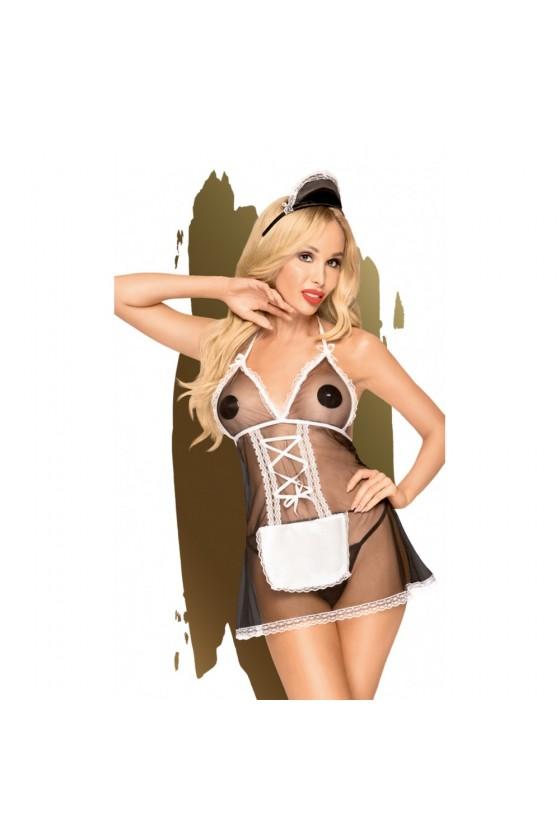 Costume soubrette comprenant nuisette, serre tête et string Noir Teaser - PH0051BLK