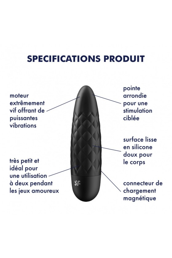Vibromasseur noir USB Ultra Power Bullet 5 Satisfyer - CC597738