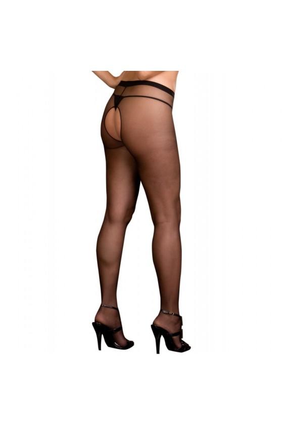 Collant noir nylon ouverture à l'entre-jambes et sur les fesses
