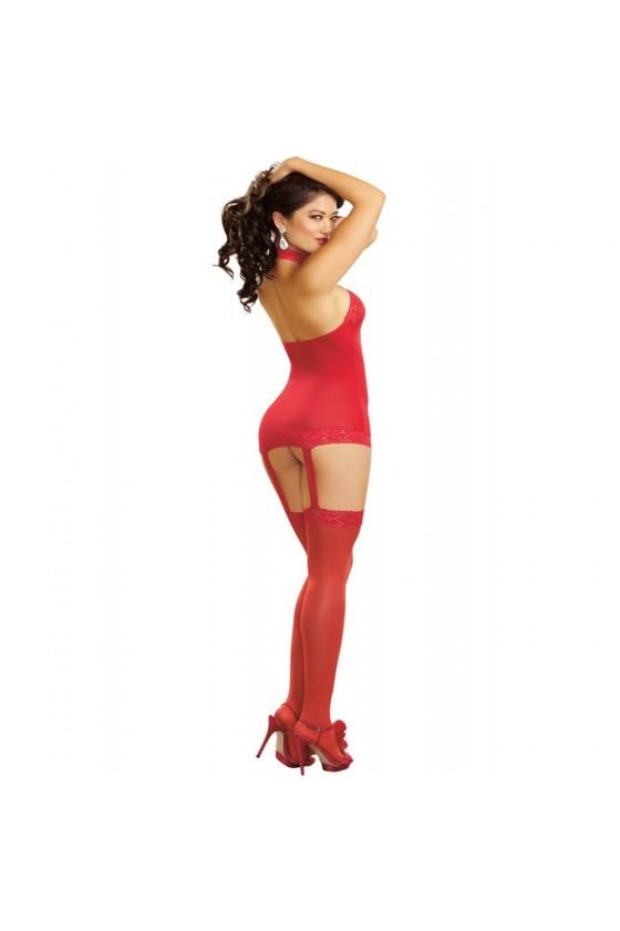 Bodystocking rouge effet guêpière avec dentelle