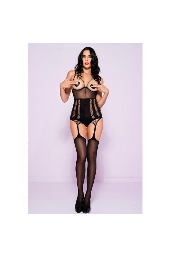 Bodystocking noir extensible seins nus effet porte-jarretelles bas nylon