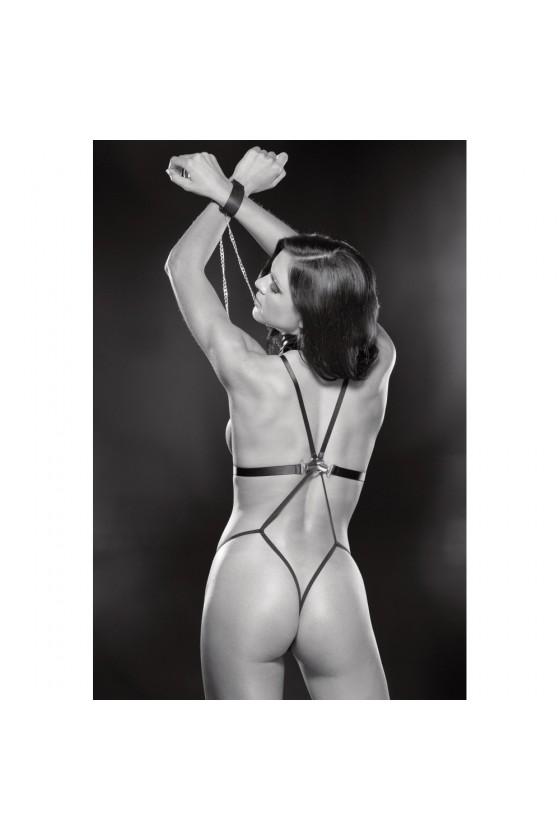 Body string noir simili cuir et menottes