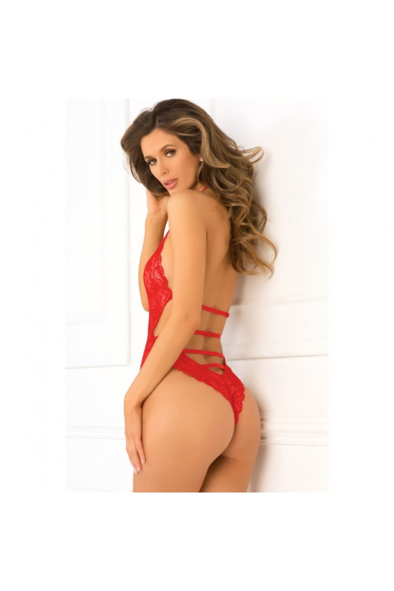 Body string rouge échancré en dentelle