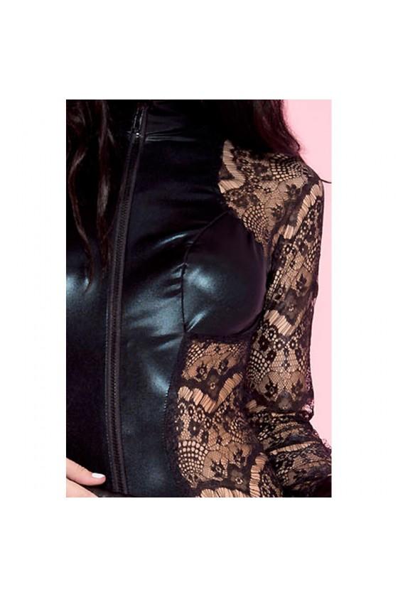 Body noir dentelle à manches longues empiècements devant derrière wetlook