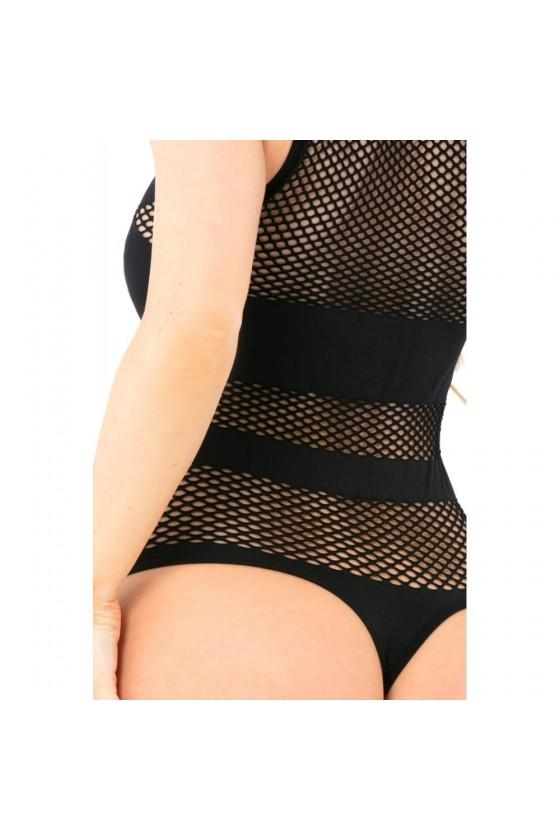Body string noir résille filet bandes opaques