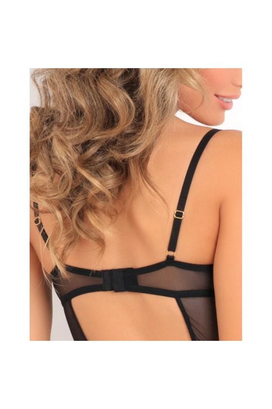 Body string noir armatures poitrine et balconnet
