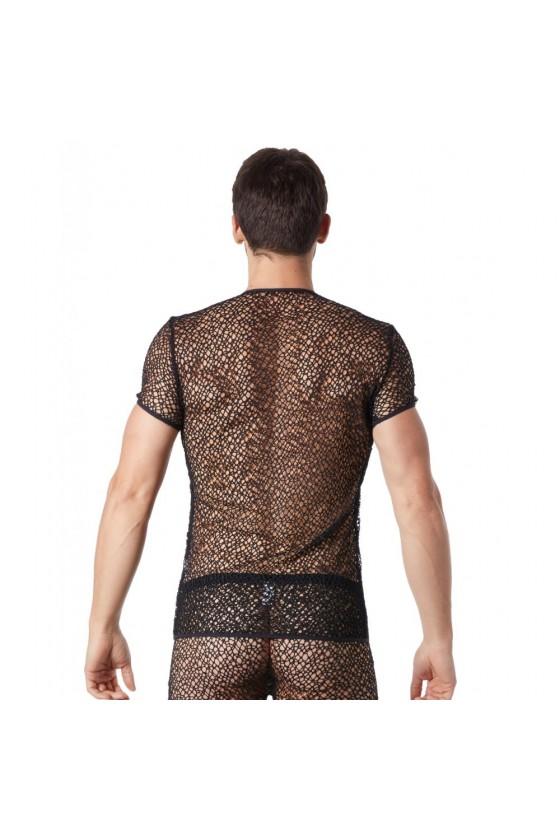 T-shirt noir sexy filet irrégulier fétichiste