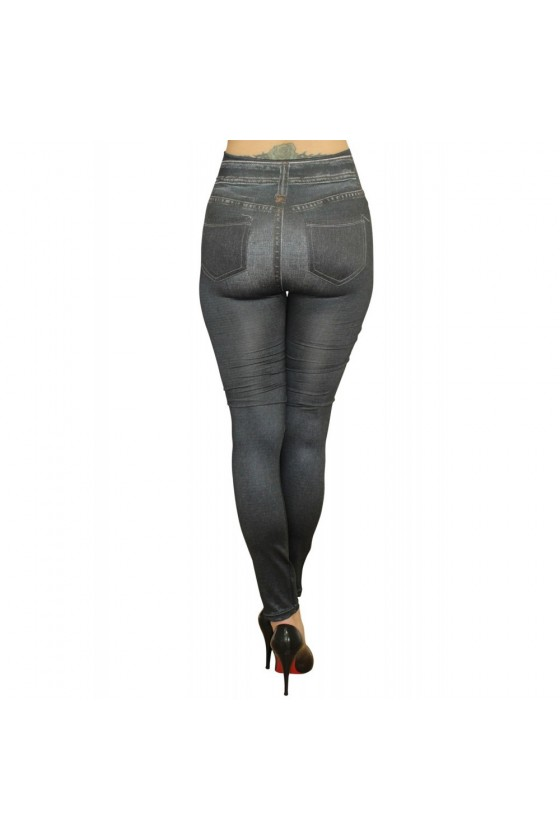 Legging noir style jean usé délavé avec poches