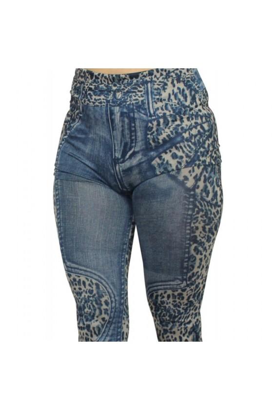 Legging bleu effet jean délavé imprimé léopard