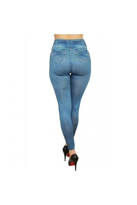 Legging bleu effet jean usé