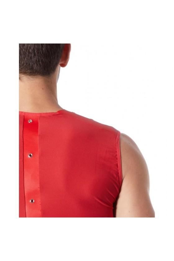 V-shirt débardeur rouge satiné avec bandes style cuir et dos avec transparence