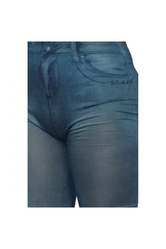 Legging bleu style jean moulant avec impressions sur poches