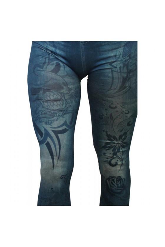 Legging bleu effet jean imprimé style tatouage