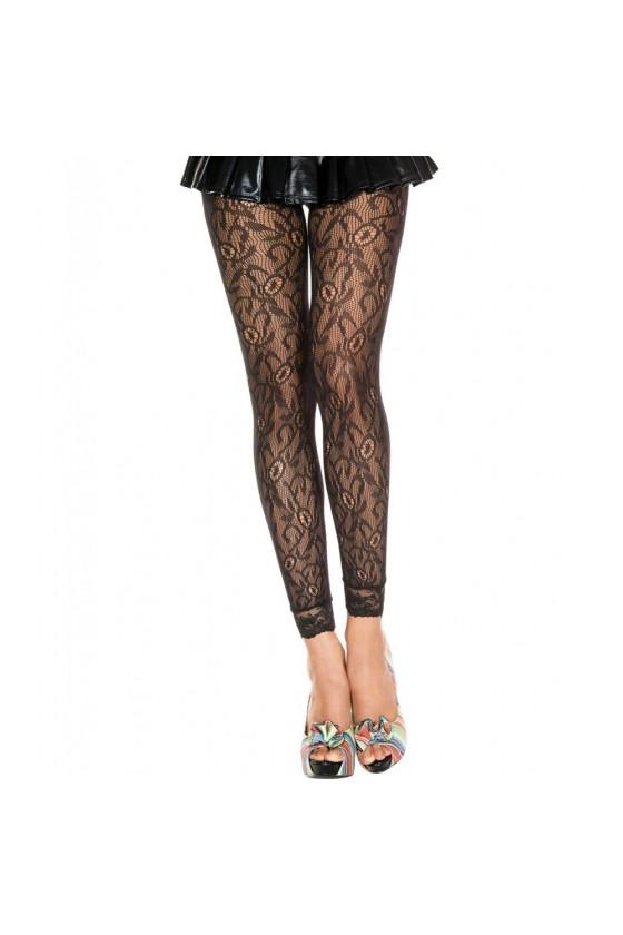 Legging fin noir résille et dentelle motif floral