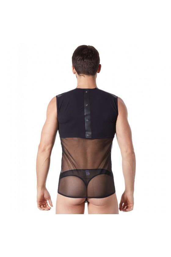 V-shirt débardeur noir satiné avec bandes style cuir et dos avec transparence