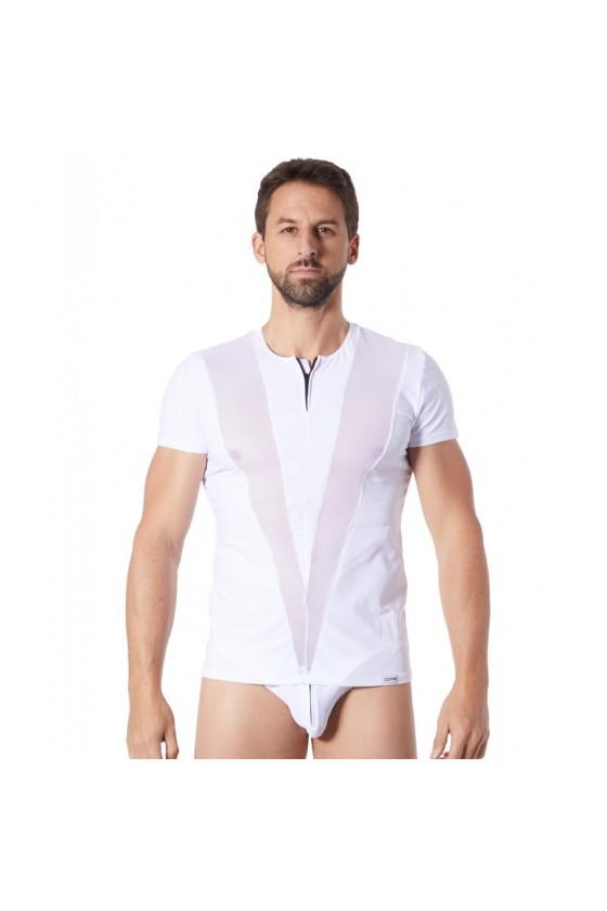 T-Shirt blanc doux avec bandes résille col rond et zip