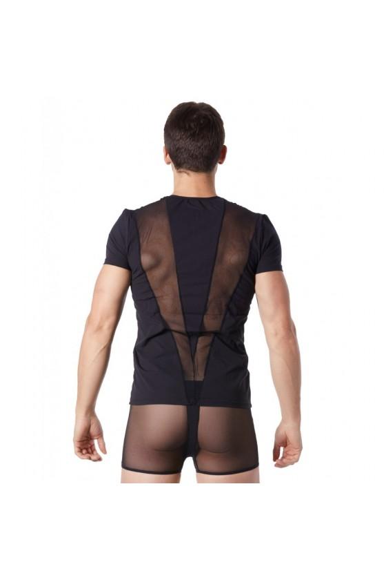 T-Shirt noir doux avec bandes résille col rond et zip