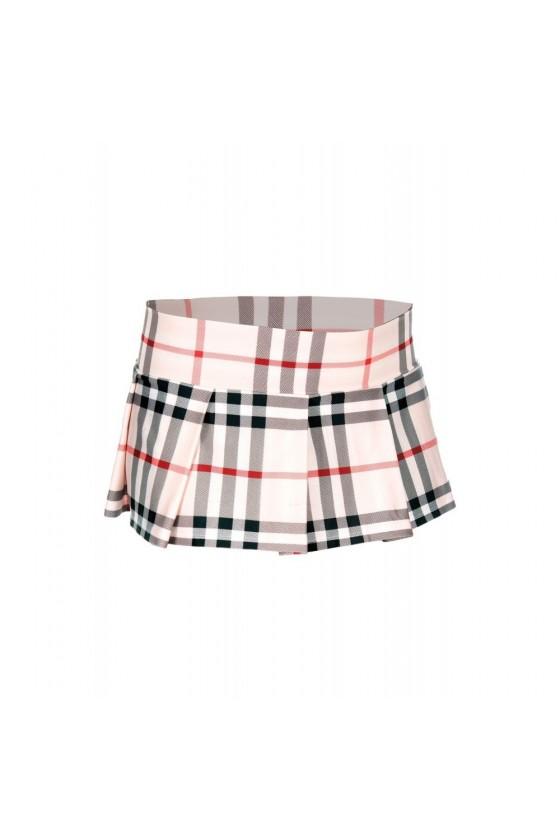 Mini-jupe plissée beige style ecossais