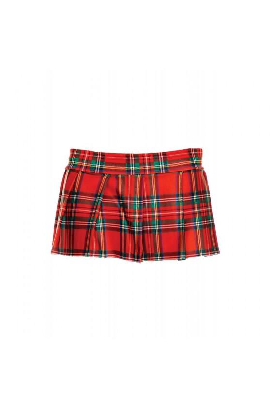Mini-jupe plissée rouge style ecossais