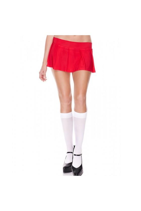 Mini-jupe plissée rouge uni