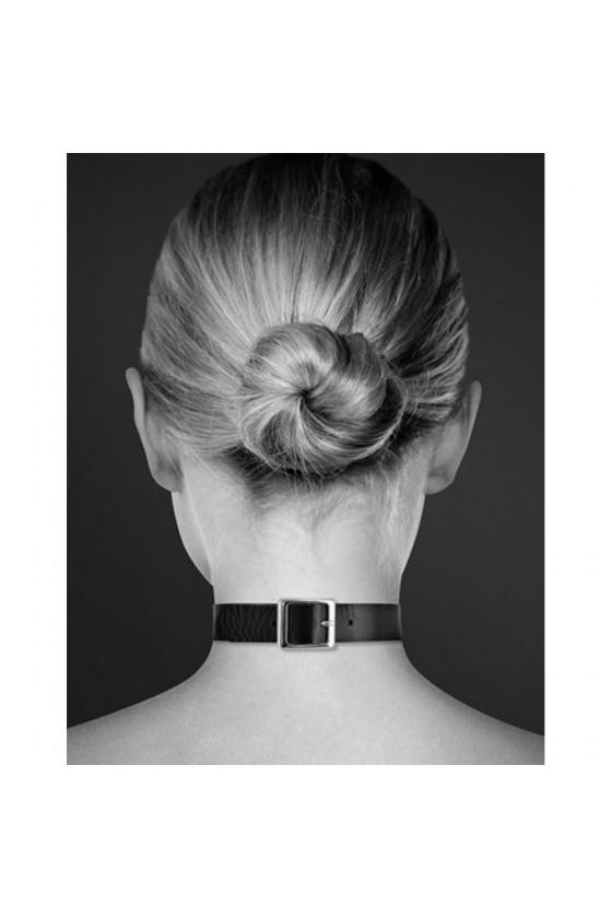 Collier en cuir noir SM avec anneau métal argenté pour laisse